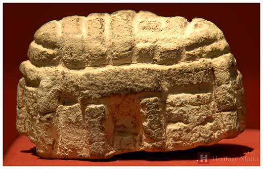 Roofed temple model found at Ta' Ħaġrat Temple dating – ca 3600- 3200 B.C.