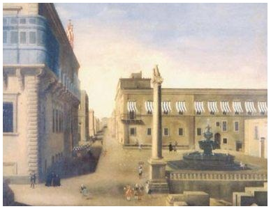 An 18th century painting showing the Verdale Column and the Wignacourt Fountain