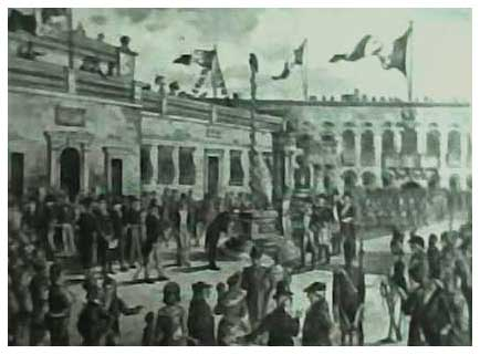 Celebrating Quatorze Juillet in Palace Square, Valletta, during French Rule. Taken from Actes et Documents by Sir Hannibal Scicluna. The original painting is by Com. Henri Zarb. This shows the Main Guard before the portico was added by the British in 1814. Also seen is part of the facade of the Hostel de Verdelin. Courtesy Dr Doreen Galea Zarb.