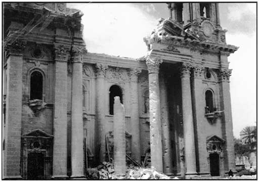 St. Publius church in Floriana was badly bombed on Tuesday 28th April 1942 at 7.50am