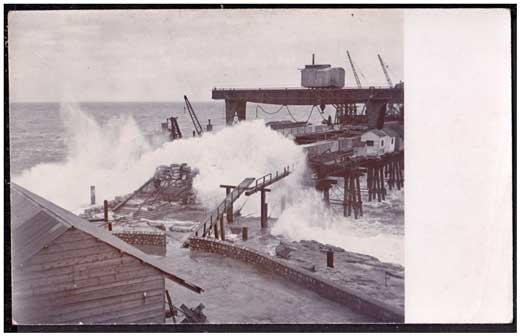 Rough seas during the construction of the West Arm of the Breakwater