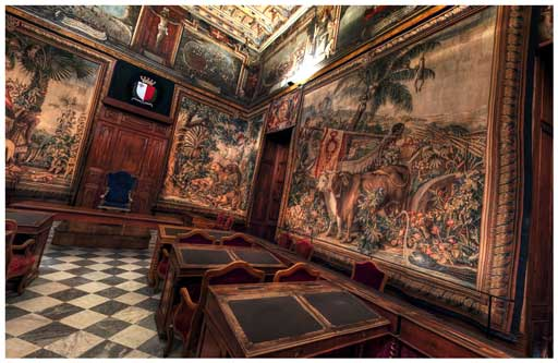 The Council Chamber with it's valuable Gobelins tapestries.